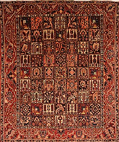 Persian Bakhtiar Red Rectangle 10x12 ft Wool Carpet 21401