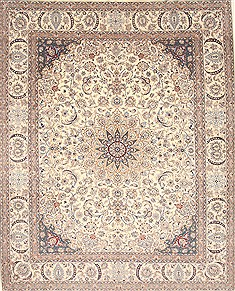 Persian Nain White Rectangle 10x13 ft Wool Carpet 21402