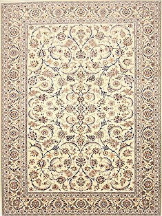 Persian Nain White Rectangle 10x13 ft Wool Carpet 21404