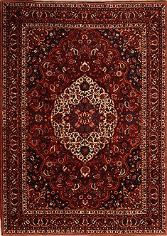 "Bakhtiar Red Hand Knotted 8'9"" X 12'4""  Area Rug 100-21422"