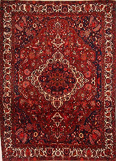 Persian Bakhtiar Red Rectangle 8x11 ft Wool Carpet 21427