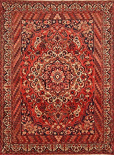 Persian Bakhtiar Red Rectangle 8x11 ft Wool Carpet 21429