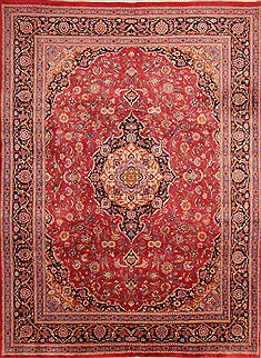 Persian Mashad Red Rectangle 8x11 ft Wool Carpet 21440