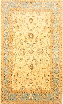 Pakistani Chobi Beige Rectangle 7x10 ft Wool Carpet 21447