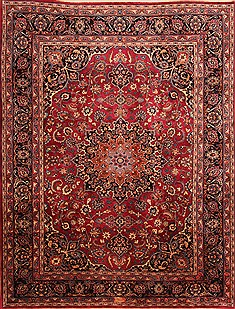 Persian Mashad Red Rectangle 8x11 ft Wool Carpet 21448