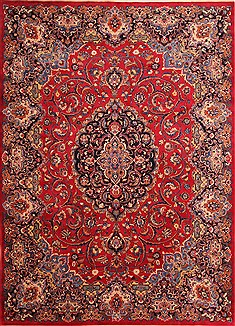 Persian Mashad Red Rectangle 8x11 ft Wool Carpet 21451