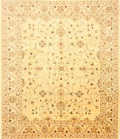Pakistani Pishavar Beige Rectangle 8x10 ft Wool Carpet 21457