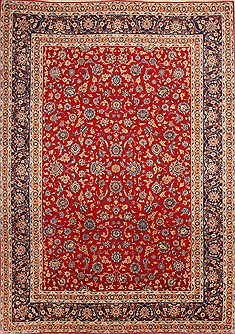 "Isfahan Red Hand Knotted 8'3"" X 11'8""  Area Rug 100-21470"
