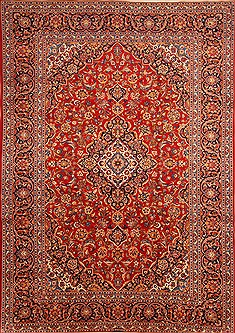"Kashan Red Hand Knotted 8'6"" X 12'0""  Area Rug 100-21476"