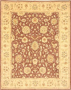 Pakistani Chobi Brown Rectangle 8x10 ft Wool Carpet 21495
