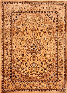 "Isfahan Yellow Hand Knotted 8'5"" X 11'6""  Area Rug 100-21500"