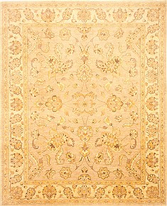 Pakistani Chobi Beige Rectangle 8x10 ft Wool Carpet 21501