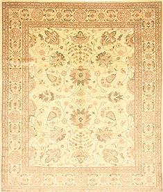 Pakistani Chobi Beige Rectangle 8x10 ft Wool Carpet 21504