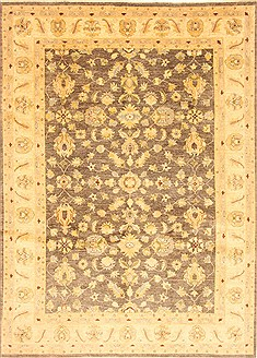 Pakistani Chobi Grey Rectangle 7x10 ft Wool Carpet 21512