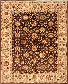 Indian Agra Brown Rectangle 8x10 ft Wool Carpet 21515