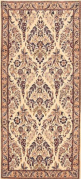 "Nain White Runner Hand Knotted 3'0"" X 6'5""  Area Rug 100-21525"
