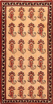 Persian Abadeh Beige Runner 6 ft and Smaller Wool Carpet 21583