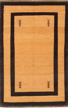 "Gabbeh Brown Hand Knotted 3'5"" X 5'3""  Area Rug 100-21610"