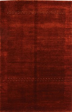 "Gabbeh Red Hand Knotted 3'10"" X 5'11""  Area Rug 100-21615"