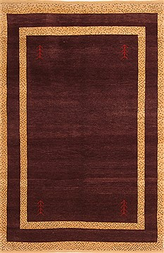 "Gabbeh Purple Hand Knotted 4'4"" X 6'7""  Area Rug 100-21620"