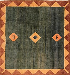 "Gabbeh Green Square Hand Knotted 6'8"" X 7'2""  Area Rug 100-21641"