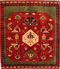 Turkish Gabbeh Red Square 5 to 6 ft Wool Carpet 21642