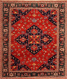 "Heriz Red Hand Knotted 8'1"" X 9'2""  Area Rug 100-21647"