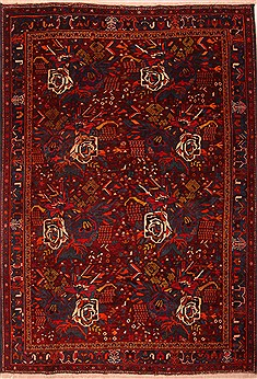 Persian Afshar Red Rectangle 7x10 ft Wool Carpet 21659