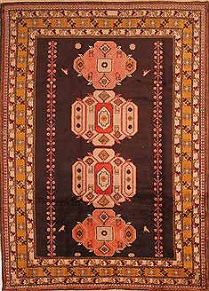 "Kazak Brown Hand Knotted 6'10"" X 9'5""  Area Rug 100-21675"