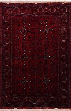 "Khan Mohammadi Red Hand Knotted 3'5"" X 4'10""  Area Rug 100-21709"