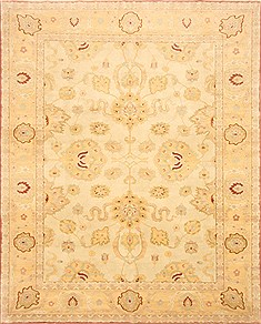 Egyptian Chobi Beige Rectangle 8x10 ft Wool Carpet 21714