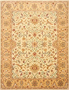 Egyptian Chobi Beige Rectangle 8x10 ft Wool Carpet 21715