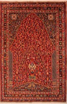 "Qashqai Red Hand Knotted 6'9"" X 10'2""  Area Rug 100-21719"