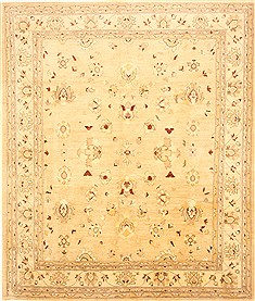 Pakistani Pishavar Beige Rectangle 8x10 ft Wool Carpet 21720