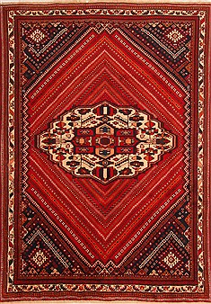 "Qashqai Red Hand Knotted 6'7"" X 9'6""  Area Rug 100-21730"