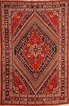 "Qashqai Red Hand Knotted 6'6"" X 9'10""  Area Rug 100-21731"