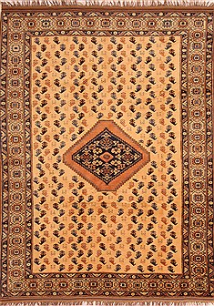 Afghan Yamouth Yellow Rectangle 7x10 ft Wool Carpet 21736