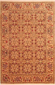 "Hereke Yellow Hand Knotted 6'7"" X 9'11""  Area Rug 100-21750"