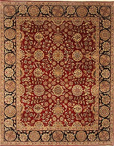 Indian Agra Red Rectangle 8x10 ft Wool Carpet 21758