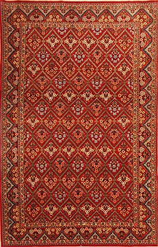 "Qum Red Hand Knotted 6'7"" X 10'7""  Area Rug 100-21760"