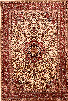 Persian Tabriz Red Rectangle 7x10 ft Wool Carpet 21762