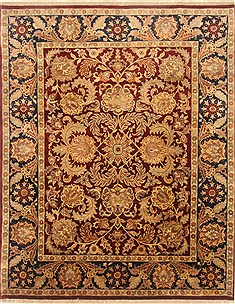 Indian Agra Red Rectangle 8x10 ft Wool Carpet 21770