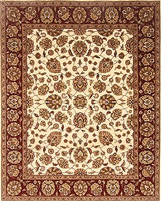 Indian Agra Beige Rectangle 8x10 ft Wool Carpet 21777