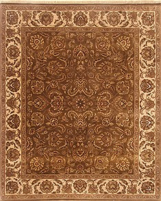 Indian Agra Brown Rectangle 8x10 ft Wool Carpet 21786