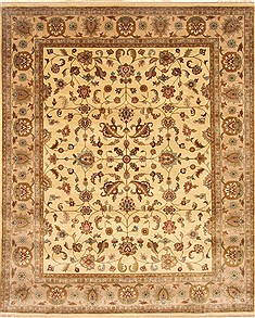 Indian Agra Beige Rectangle 8x10 ft Wool Carpet 21788