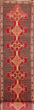 "Sanandaj Red Runner Hand Knotted 3'0"" X 13'6""  Area Rug 100-21799"