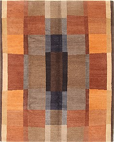 "Modern Multicolor Hand Knotted 8'1"" X 10'1""  Area Rug 100-21847"