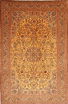 "Qum Yellow Hand Knotted 6'10"" X 10'9""  Area Rug 100-21886"