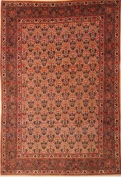 Persian Kashan Beige Rectangle 7x10 ft Wool Carpet 21892