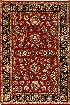 "Agra Red Hand Knotted 4'6"" X 5'11""  Area Rug 250-21894"